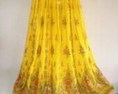 Yellow Sequin shining Embroidered Maxi Skirt Long Skirt Indian Bollywood Skirt Long Tribal Skirt Ethnic Skirt Indian Skirt
