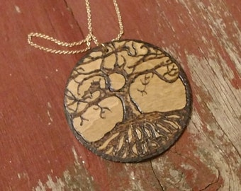 Tree of life wood burned necklace