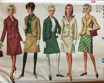 Simplicity 6685 - 1960s Jacket and Skirt Suit Set - Size 14 Bust 34