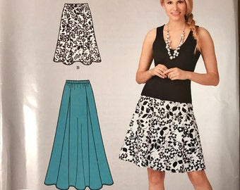 Simplicity 1856 - Easy to Make Pull On Gored Skirt in Knee or Maxi Length - Size 10 12 14 16 18 20
