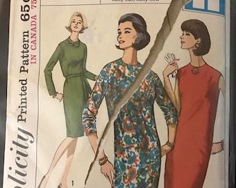Simplicity 5650 - 1960s Easy Jiffy Sheath Dress with Jewel Neck - Size 16 Bust 36
