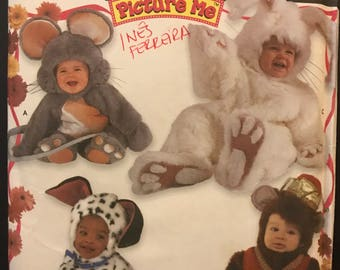 Simplicity 9821 - Picture Me Baby's Mouse, Bunny, Dog, and Monkey Costume - Size 1/2 1 2 3 4
