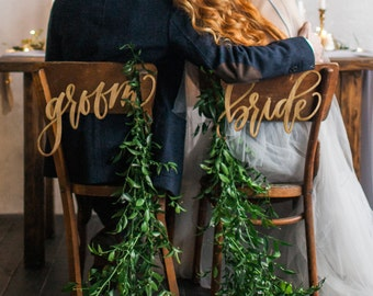 Bride & Groom Laser Cut Chair Signs by Hawaii Calligraphy