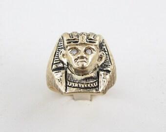14k Yellow Gold Vintage Egyptian Pharaoh Diamond Ring Size 10 1/2