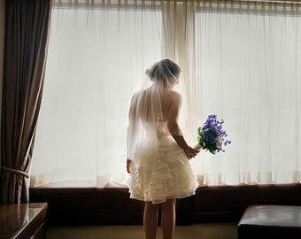 Waist Length Wedding Veil, Raw Edge Bridal Veil, Two Tier Veil, Blusher Veil, Medium Volume, Short Veil, White Ivory Blush Champagne