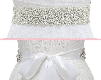 Crystal Bridal Sash, Crystal Wedding Belt, Beaded Sash, Wedding Dress Belt, Beaded Belt, Rhinestone Trim, MORGAN