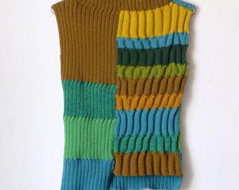 striped knit vest, top, turtleneck, green, brown