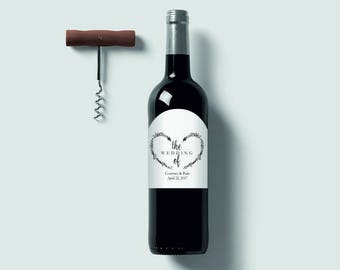 kraft wedding wine label with heart for anniversarybirthday. Black Bedroom Furniture Sets. Home Design Ideas