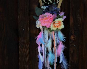 Floral deer antler dream catcher. Nursery decor. Antler art. Floral antlers. Mothers day gift. Wedding decor.