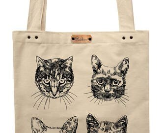 Cats  - hand printed cotton tote bag