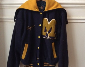 RESERVED - Alicia Conraux / beautiful teddy / jacket / jacket varsity cheerleader 1950s embroidered blue and yellow vintage RARE!