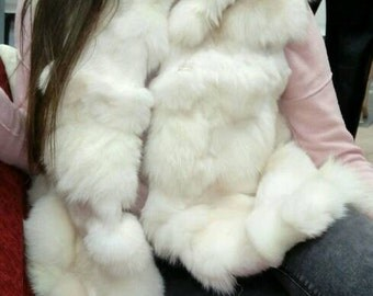 NEW!!! Natural,Real White Fox Fur Vest!