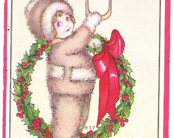 Antique Christmas Postcard Stecher Litho Co.  Embossed Child at Door  C16