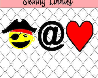 PIRATE AT HEART Emoticon svg cutting file Silhouette , Cricut etc. Jolly Roger , word art , kids , boys , emoticon