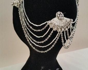 Art Deco Vintage inspired  Bridal headdress, headpiece, hairpiece, hair jewellery, Swarovski dinante drapes uk bride, wedding handmade UK