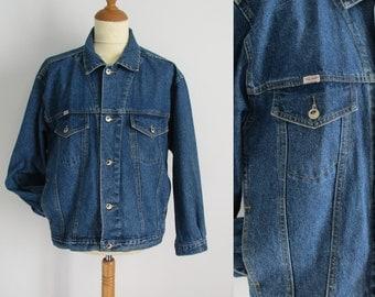 Veste en Jean pour homme, vintage des années 80 retro, manches longues, bouton, veste en jean Français, manteau, x grand
