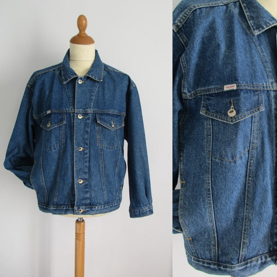 Mens denim jacket, vintage 80s retro, long sleeve, button up, French jean jacket, coat, x large