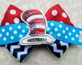 Dr. Suess's Cat in the Cat Hair Bow, Custom Ribbon with Custom Embellishment, Christmas Gift, Birthday Gift, Thing One, Thing Two,