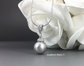 10mm Grey Pearl Necklace Bridesmaid Gifts Bridesmaids Jewelry Budget Bridesmaid Jewelry Mother of the Bride Gift Mother of the Groom Gift