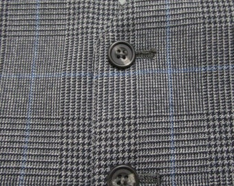 Gray Plaid Wool Vest sz 44 R ~ waistcoat ~ WEDDING