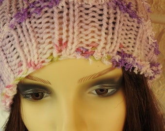 Handmade Woman's Lilac Multicoloured Pompom Hat - Free Shipping