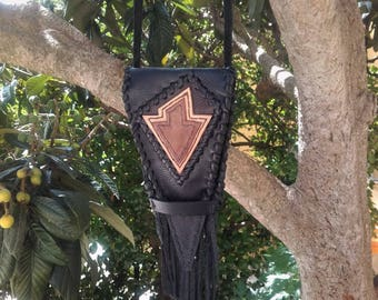 Black leather medicine bag . leather Arrowhead