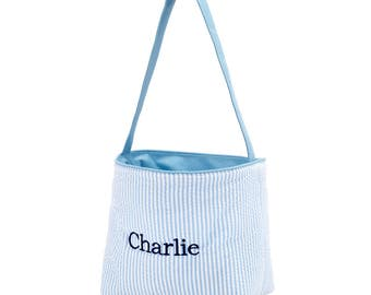 Blue Easter Basket for boy, Personalized Easter Tote Bag, Monogrammed Gifts for Kids, Gifts for boys, Easter Tote Bag, Easter Gifts For Kids