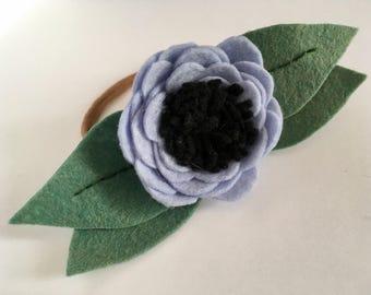 The Jeannette / felt flower headband / floral hairband / Blue Cornflower / ALS Support