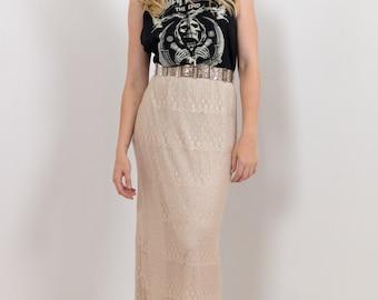 VINTAGE Lace Maxi Skirt High Waist Beige Silver Lurex 1990s
