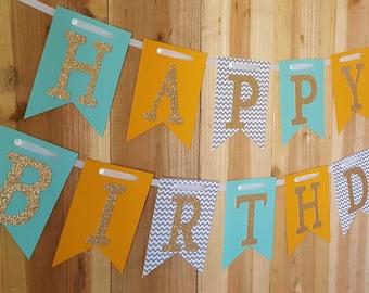Green, Orange, Chevron & Gold Glitter Happy Birthday Banner, High Chair Banner, One Banner