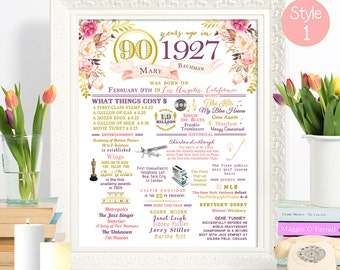 PRINT //  90th Birthday or 90th Anniversary Flower & Gold Sign Custom ANY COLOR Poster Wall Art // 1927 Events and Stats #1082017P