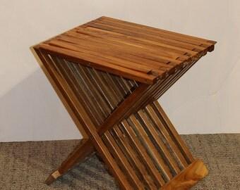 Teak folding multi-purpose stand