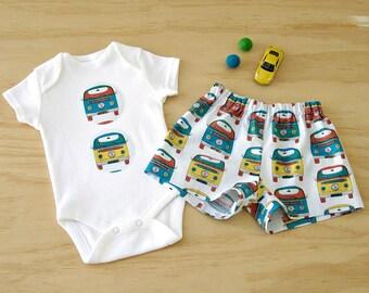 Boys VW Combi set. Baby boys outfit set. Boys Combi Van bodysuit. Boys VW shorts set. Volkswagon Combi boys set. Boys VW onesie