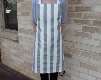 Gray and White Stripe Apron