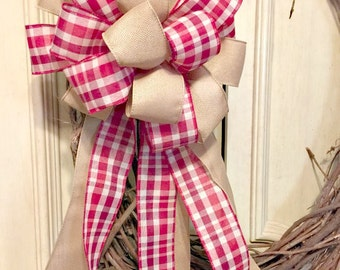 Rustic Bow Plaid Bow Burlap Bow Large Christmas Bow Red Christmas Bow Garland Bow Wreath Bow Ivory Bow Plaid Christmas Bow Burlap Christmas