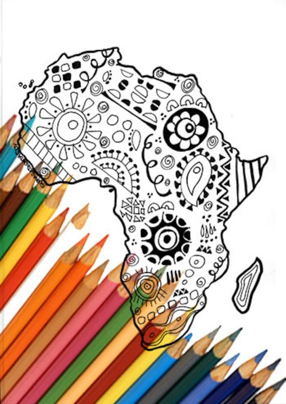 Africa continente mappa pagina da colorare zentangle download - Mappa messico mappa da colorare pagina ...
