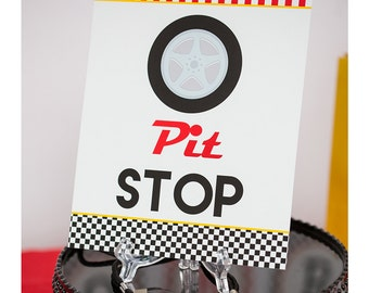 Pit Stop Sign - Instant Download Race Car Party Pit Stop Sign by Printable Studio