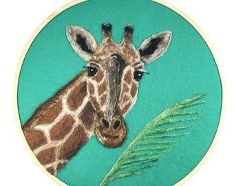 Giraffe Wall Hanging, Safari Nursery, Embroidery Hoop Art, Giraffe Nursery, Giraffe Wall Art, Nursery Wall Giraffe, Wool Painting, Kid Room