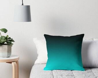 Turquoise Black Pillow, Turquoise Black Throw Pillow, Turquoise Bedding, Turquoise Toss Pillow, Turquoise Decor, Turquoise Room, Turquoise