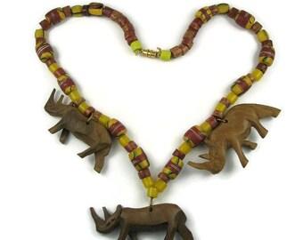 Carved Wood Rhino Boho Necklace