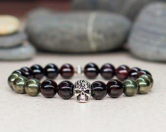 Unisex Skull bracelet Men bracelet Skull jewelry-for-women gift men Garnet bracelet Pyrite bracelet Punk jewelry Rocker jewelry Goth jewelry