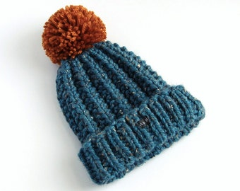 Mens Petrol Blue Tweed Bobble Hat. Thick chunky hand knitted beanie with large removable rust pom pom. Wool Blend M/XXL Mans Womens Gift