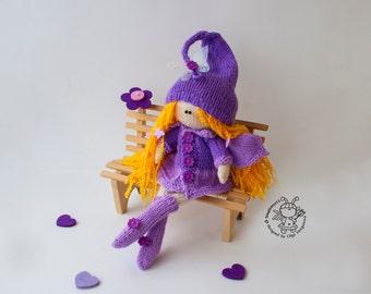 Doll Lilac fairy dreams     - knitting pattern (knitted round).Doll pattern.Amigurumi Doll. Lilac fairy dreams