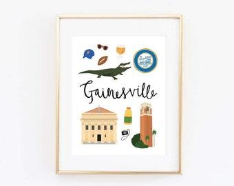 Gainesville Art Print, Illustrated Gainesville Decor, Gainesville Gift, Gainesville Wall Art