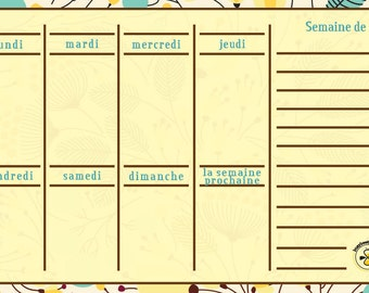 French Spring weekly planner, dry erase calendar, weekly calendar, daily planner, French magnetic calendar for refrigerator, Floral Planner