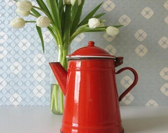 Vintage Red Enamel Coffee Pot 1970s 17055