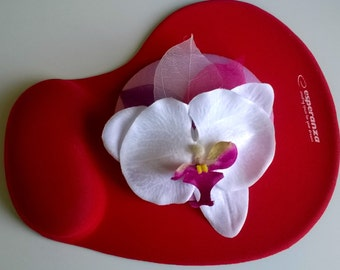 Mini hat White Orchid for party, Halloween, Christmas, Carnival, Valentine's Day, New Year, fascinator, mini hats