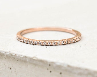 Thin 1.4mm Eternity Band Ring - Rose Gold - Half Band or FULL Band Stacking Ring