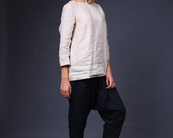 OLIVIA / Casual linen blouse / simple linen top / Linen blouse over jeans / Loose linen tee / Linen shirt