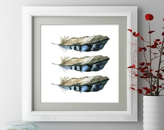 Feather wall art, Blue jay, Boho girl wall decor, Hippie bedroom decor, Bohemian bedroom, Boho tribal nursery, Tribal bedroom decor, Prints